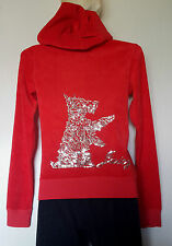 JUICY COUTURE SWEAT ZIPPE TAILLE XS (FR36 /EU34) EN COTON ÉPONGE ROUGE SEQUINS