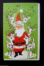 #F115- Vintage Unused Xmas Greeting Card Gold Embossed Santa & His Reindeer