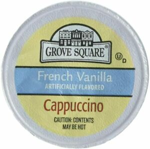 GROVE SQUARE CAPPUCCINO FRENCH VANILLA 50 SINGLE SERVE CUPS DRINK MIX COFFEE