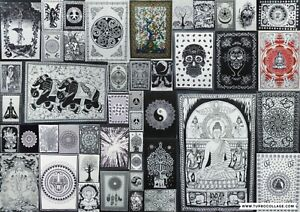 Wall Hanging Black & White Bohemian Living Bedroom Office Indian Poster Tapestry