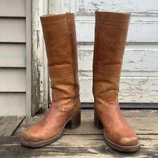 Vintage 70s Orange Leather Frye Boot Women 8 8.5 9 Men 7 Cowboy Rockabilly Boho