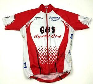 G&S Cycling Club Jersey Size 8 Red White Shirt Full Zip Short Sleeve Tee Women's