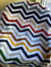 Crochet handmade baby blanket afghan chevron ripple Vanna yarn multi color Fall