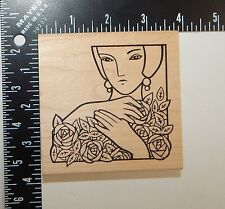 JudiKins Woman Holding Flowers Rubber Stamp 2281H
