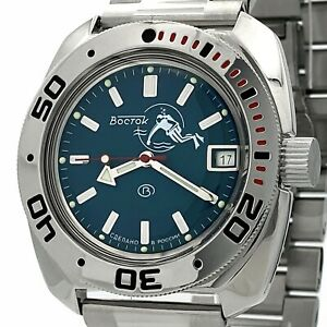 VOSTOK Amphibia 710059 AUTOMATIC Diver Blue Sea wave MEN Russian WRIST WATCH NEW