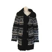 Cocogio Made In Italy Cardigan Sweater Womens Sz Medium Black Grey Wool Blend