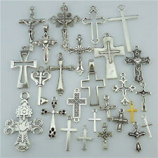 25PCS MIX Cross Pendant Vintage Antique Silver Tone Alloy Faith Religious Charm