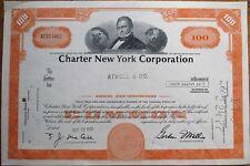'Charter New York Corporation' 1973 Bank Stock Certificate - Orange