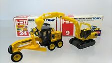2 Tomy Tomica  Komatsu Motor Grader  Power Shover PC200 Galeo  Yellow  Used