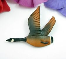 LEATHER FLYING GOOSE PIN Vintage Bird Brooch Artist Signed CANADA Hand Crafted