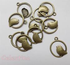 10 antique bronze oiseau rond kitsch charms vintage oiseaux lf cf nf pendentifs