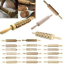 Wooden Christmas Rolling pin. Embossing engraved dough roller for cookies Tool