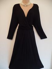 BODEN SIZE 18 BEAUTIFUL FLATTERING BLACK JERSEY TWIST FRONT DRESS IMMACULATE!