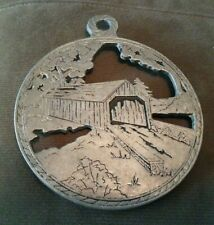 Pewter Trivet with Covered Bridge 6""