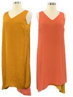 LOGO by Lori Goldstein size L pumpkin guava satin/chiffon reversible Vneck dress