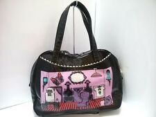 Auth ANNA SUI Black Purple Multi PVC Shoulder Bag