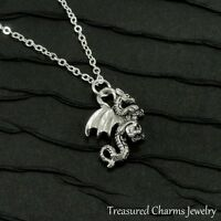 e1a59633bfe9 Free shipping. Silver Dragon Charm Necklace - Medieval Fantasy Fire  Breathing Dragon Jewelry