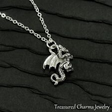 Silver Dragon Charm Necklace - Medieval Fantasy Fire Breathing Dragon Jewelry
