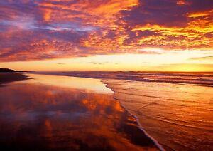 Beach Sea Sunset Ocean Scenic Poster Print A6 A5 A4 A3 A2 A1 A0