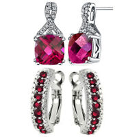 Gold over Sterling Silver Ruby And Diamond Hoop Earrings