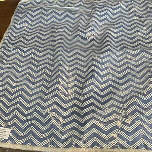 Fringed Serena & Lily Calais Pillow Cover Chevron Strips French Blue Cream New