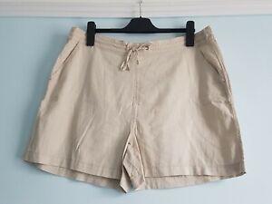 Ladies Beige Linen Blend Shorts Size 18