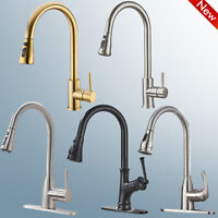 Single Handle High Arc Pull Out Kitchen Faucet Stainless Steel Sink Mixer Taps