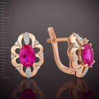 Damen Ohrringe mit Diamanten, LAB Rubin Russische Rose Rotgold 585 Neu Glänzend