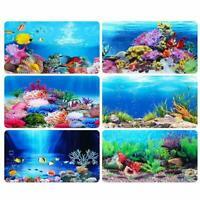 Aquarium Ocean Background Landscape Poster Fish Tank Background Decor Q0Q9