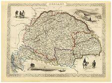 Old Vintage Hungary decorative map Tallis ca. 1851