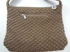 The Sak Tan Light Brown Crochet Nylon Shoulder Bag Handbag 3119-XTP