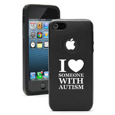 For iPhone 4 4S 5 5S 5c Aluminum Silicone Hard Case I Love Someone with Autism