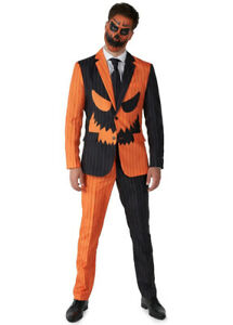 Mens Pumpkin Costume Jack-O Pinstripe Suitmeister Suit