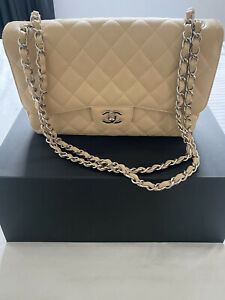 100% Authentic Chanel Classic Flap Large Bag, Grained Calfskin & Silver Hardware