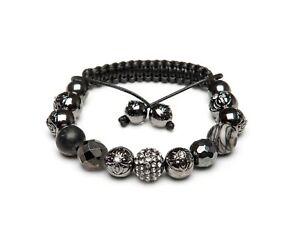 Shamballa Bracelet UK Jasper Hematite Gemstone Gun Metal Black Pave Crystal
