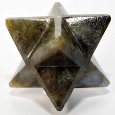 "2.5"" Natural Labradorite 8 Point Merkaba Star Sparkling Crystal from Madagascar"