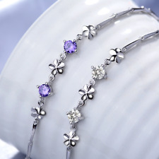 "8"" Sterling Silver Clear Purple Cubic Zirconia Amethyst Flower Chain Bracelet B2"