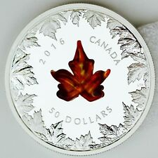 Canada 2016 Autumn Radiance Murano Glass Maple Leaf 5 oz .9999 Pure Silver Proof