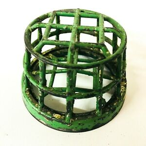 Vintage Green Flower Frog Cage Style 3.25""