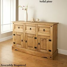Solid pine Rio Wide Sideboard 6 Storage drawers - Assembly Required