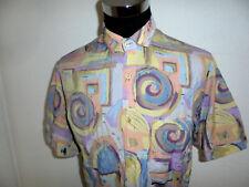 vintage 90er Jahre Hemd crazy pattern 90s Viskose shirt gemustert oldschool L