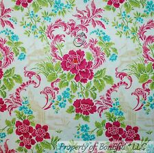 BonEful Fabric FQ Cotton Quilt White Pink Aqua Asian Flower Green French Country