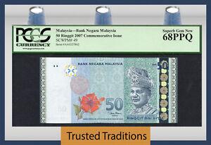 """TT PK 49 2007 MALAYSIA 50 RINGGIT """"T.A. RAHMAN"""" PCGS 68 PPQ SUPERB GEM NEW!"""