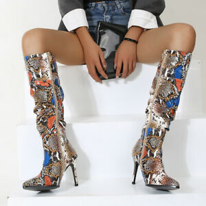 Women's Boots Knee High Colorful Snakeskin Pattern High Heels Pointed Toe Shoes