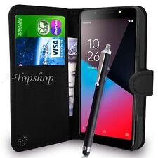 Funda cartera Negro Funda Libro De Cuero PU para teléfono móvil Vodafone Smart N9 Lite