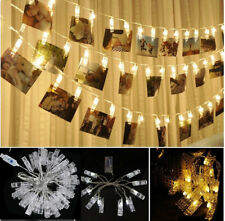 10 LED Photo Peg Clip LED Fairy String Light Wedding Hanging Picture Decor 1.2M