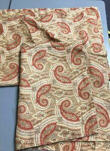 Eddie Bauer Home Pillow Shams Standard Tan Floral Linen Bedding PAIR lot of 2
