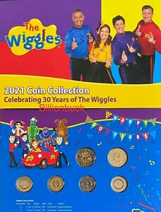 The Wiggles 2021 Six Coin Set Collection UNC Coloured $2 $1 Dollar Folder