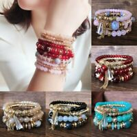 4Pcs Boho Multilayer Natural Stone Crystal Beaded Bracelets Fashion Women Set