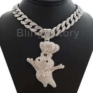 """Hip Hop Large DOUGHBOY Pendant & 15mm 18"""" Full Iced Cuban Choker Chain Necklace"""
